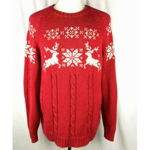 Lands End Mens Christmas Sweater Sz L Reindeer